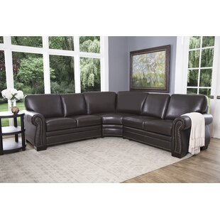 Compare prices Barnabas Leather Sectional By Darby Home Co