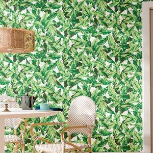 Howard Palm Leaf 16.5' L x 20.5 W Floral and Botanical Peel and Stick Wallpaper Roll