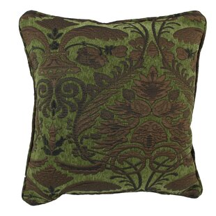 18-inch Corded Green Damask Jacquard Chenille Throw Pillow (Set of 2)
