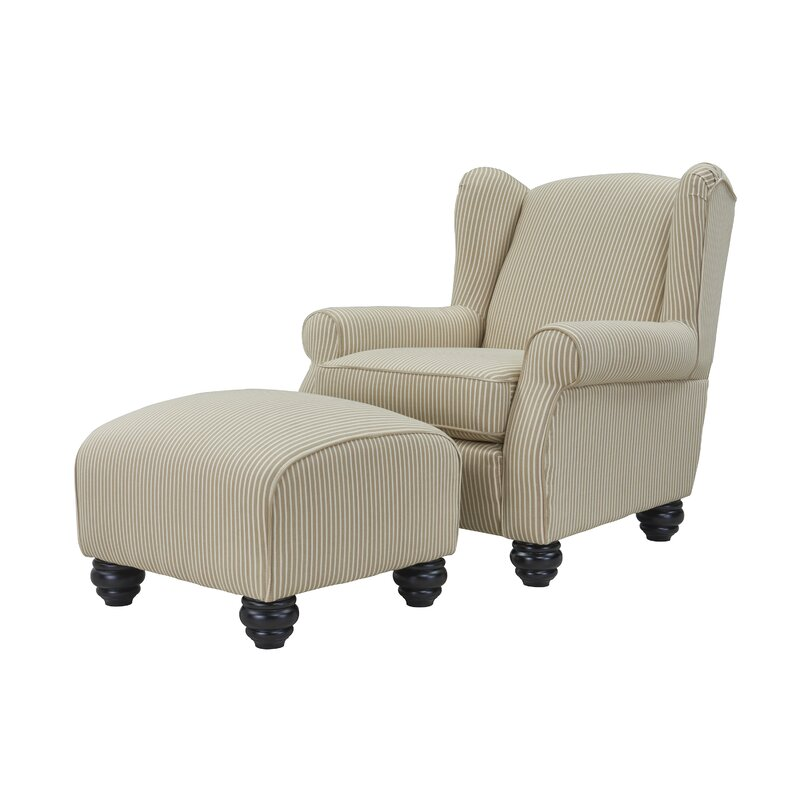 brougham wingback chair and ottoman reviews birch lane
