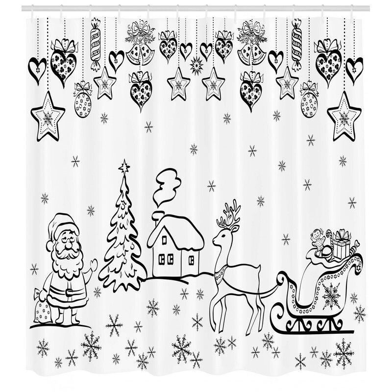 Winston Porter Coleridge Tree Reindeer Santa Single Shower Curtain Wayfair