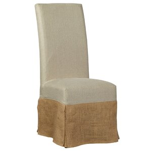 Burlap Slip Covered Parsons Upholstered D..