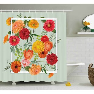 Burkitt Elegance Floral Flower Leaf Single Shower Curtain