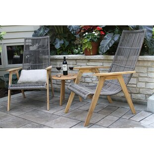 Largent Teak Patio Chair set with Cushions (Set of 2)