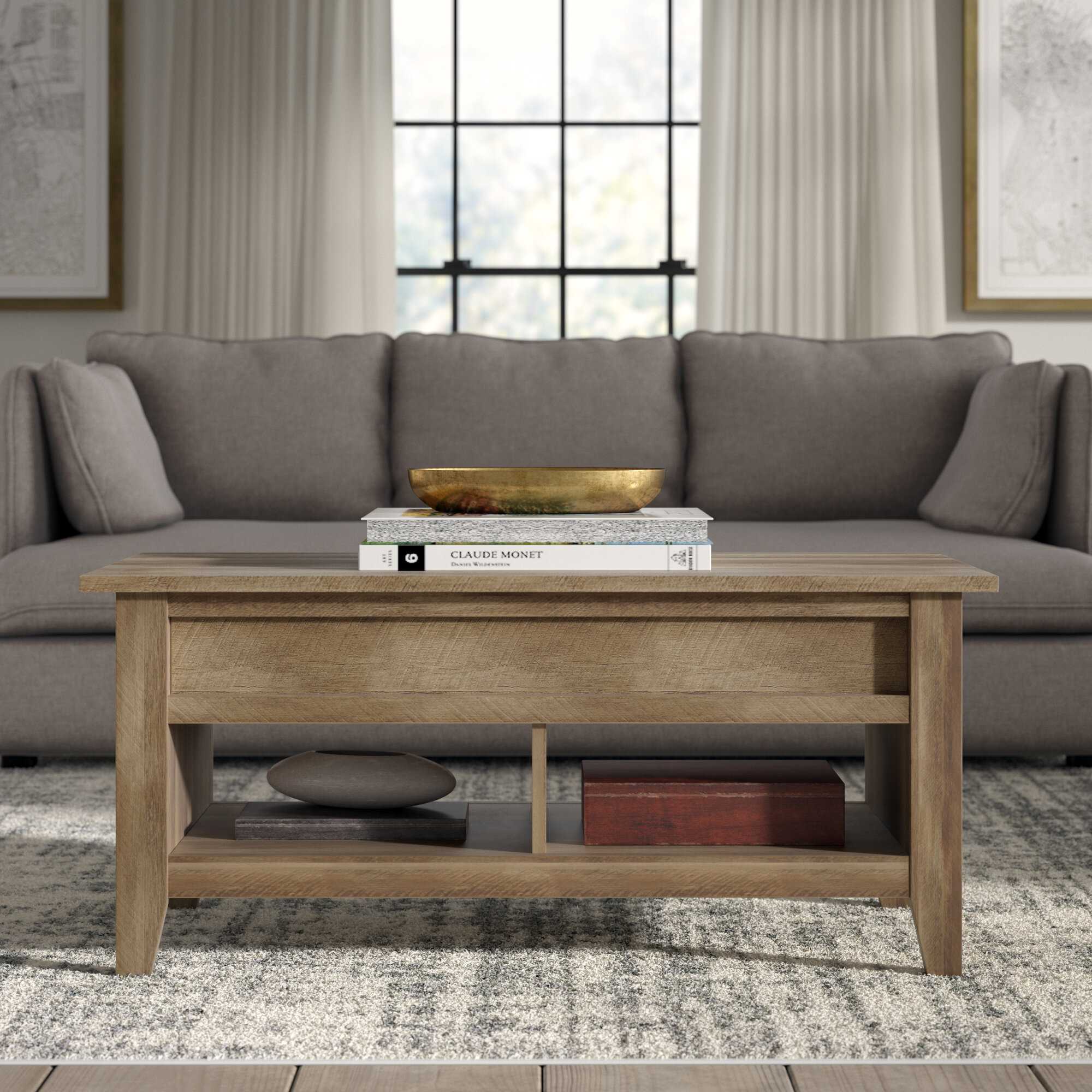 - Greyleigh Riddleville Lift Top Extendable Coffee Table With