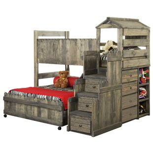 Ranieri Driftwood Twin over Full L Bunk Bed with Mattress, Drawers and Bookcase