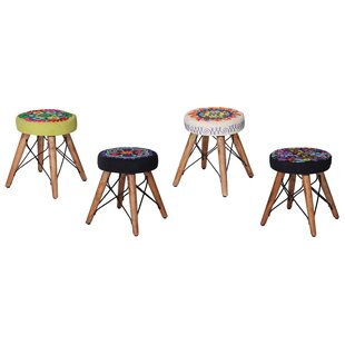 Haitam Assorted Embroidered Stool (Set Of 4) By Latitude Vive