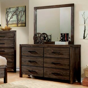 Rowley 6 Drawer Double Dresser With Mirror by Loon Peak 2019 Coupon