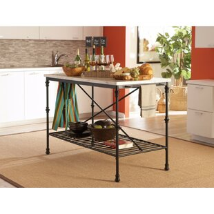 Galster Well-Made Metal Kitchen Island with Faux Marble August Grove