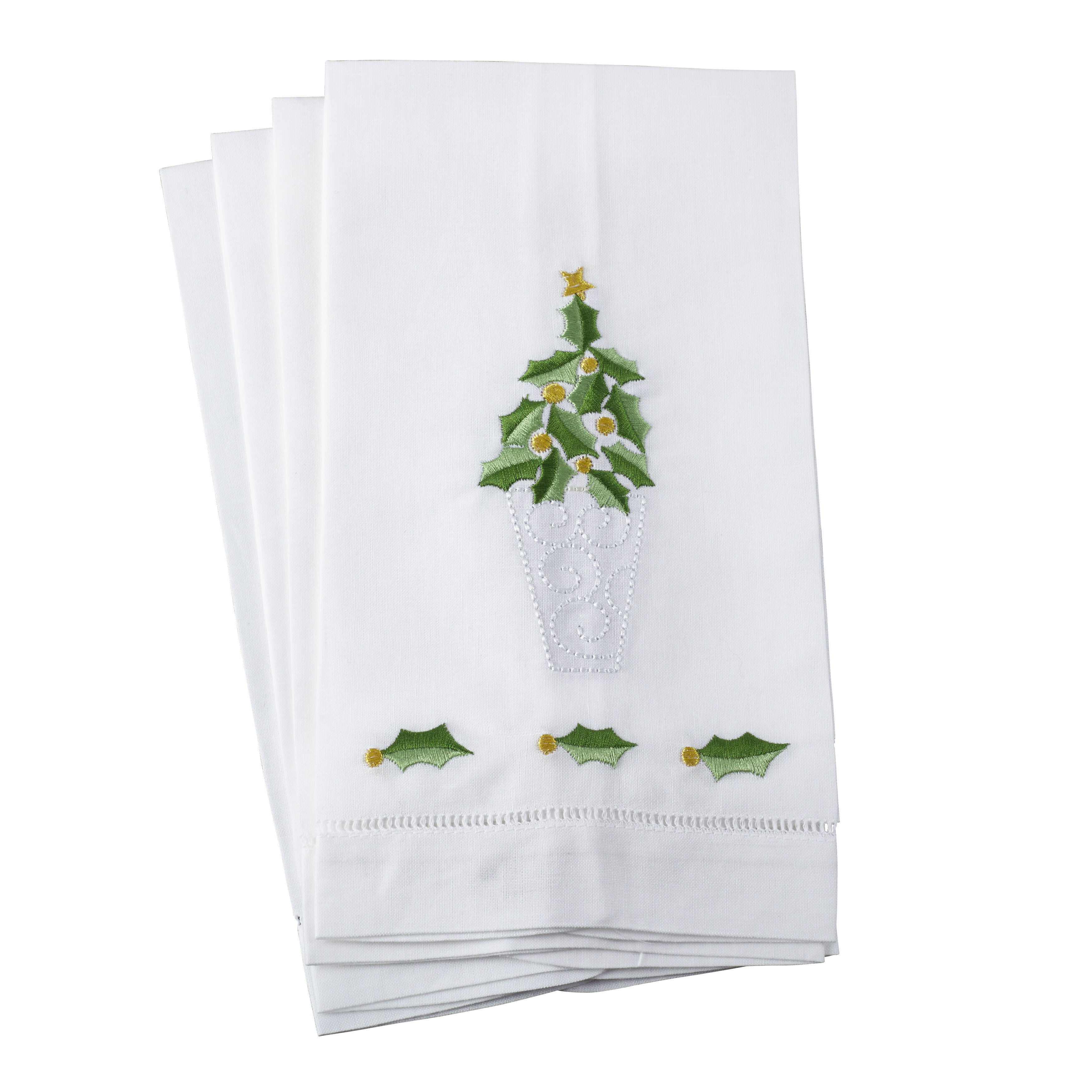 Embroidered Holly Leaf Christmas Tree Design Hand Towel
