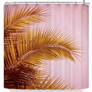 East Urban Home Ann Barnes Rose + Gold Tropics Shower Curtain