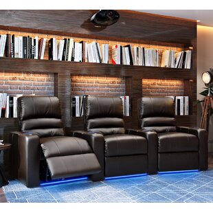 Latitude Run Blue LED Home Theater Curved Row Seating (Row of 3)