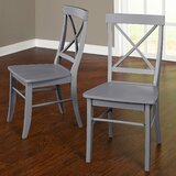 Brookwood Solid Wood Cross Back Side Chair (Set of 2) by Beachcrest Home™