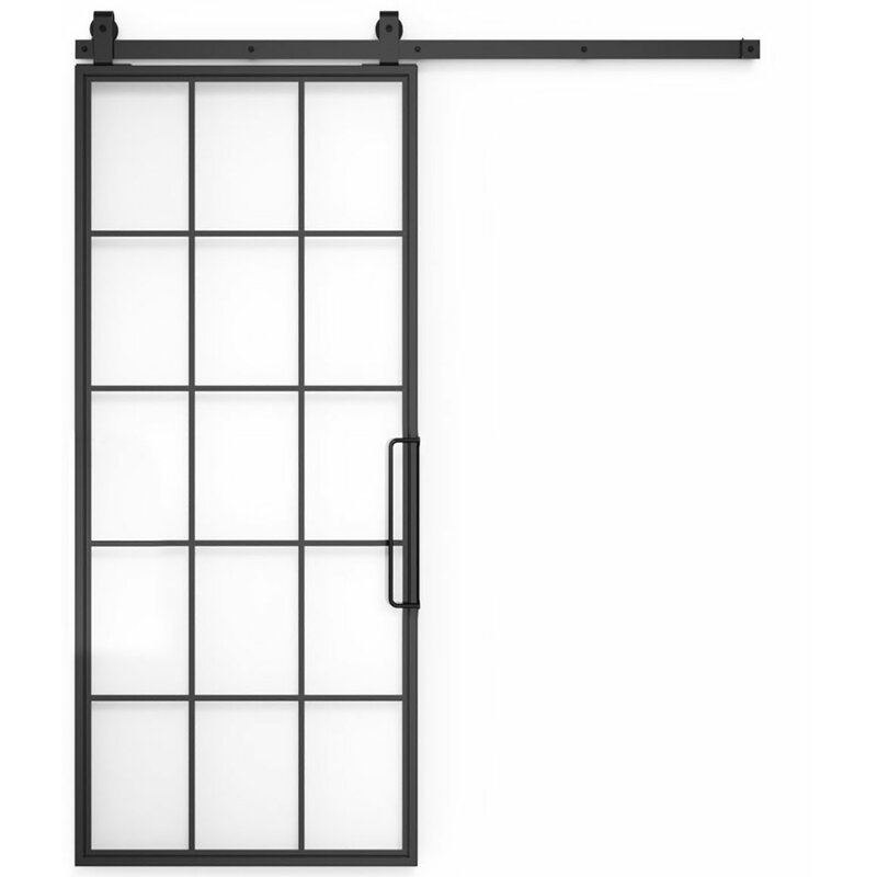 Excellent Glass Metal Mountain Barn Door With Installation Hardware Kit Download Free Architecture Designs Itiscsunscenecom