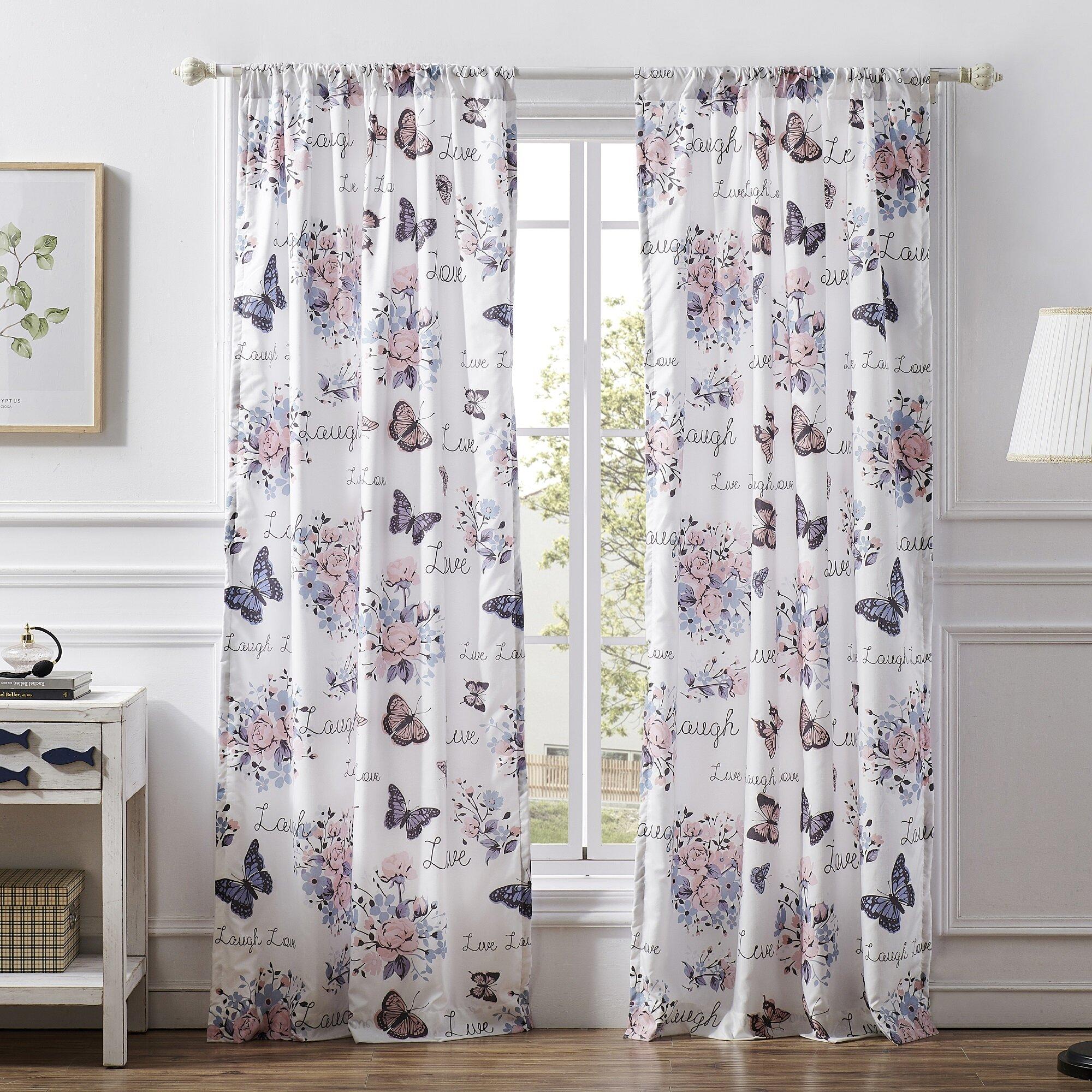 Red Barrel Studio Soud Garden Joy Floral Semi Sheer Rod Pocket Curtain Panel Reviews Wayfair