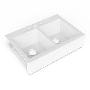parker quickfit 34 l x 24 w double basin dual mount kitchen sink