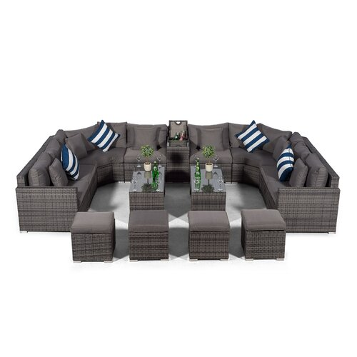 Villasenor Grey Rattan U Shape 8 Seat Sofa With 2 X 2 Stool