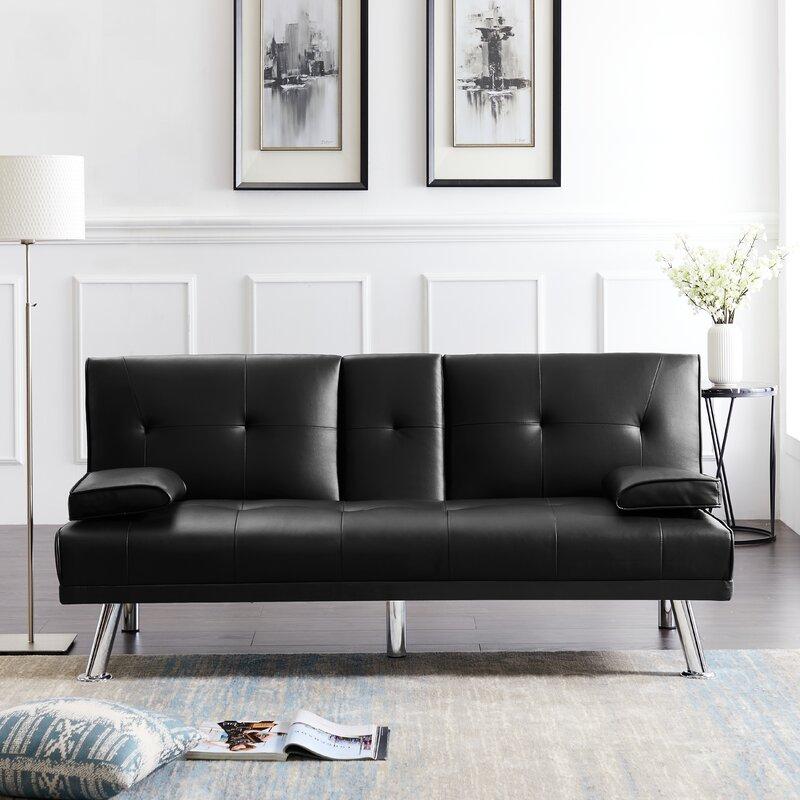 Latitude Run Dalas Twin Or Smaller 66 2 Tufted Back Convertible Sofa Wayfair