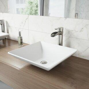 Matte Stone Square Vessel Bathroom Sink VIGO