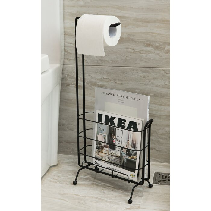 Metal Freestanding Toilet Paper Holder With Magazine Rack