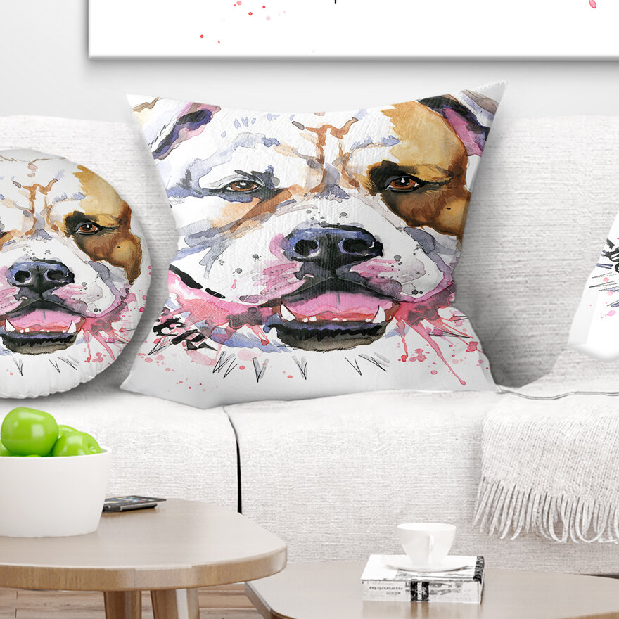East Urban Home Animal Cute Dog With Open Mouth Pillow Wayfair Ca