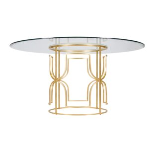 Worlds Away Dining Table with Glass Top