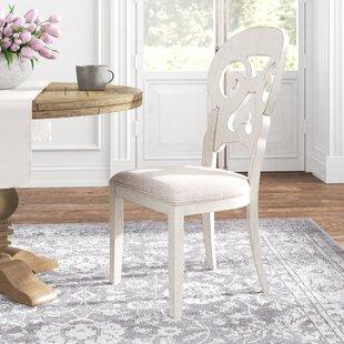Konen Splat Back Upholstered Side Chair in Antique White Set of 2 by Kelly Clarkson Home