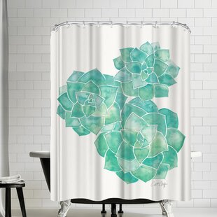 Cat Coquillette Rosette Succulents Shower Curtain