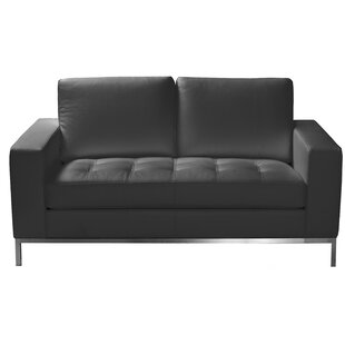 Witney Leather Loveseat by Orren Ellis