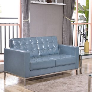 Review Elara Leather Loveseat by Latitude Run