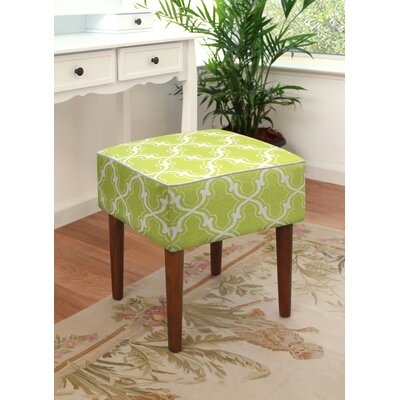 123 Creations Trellis Linen Upholstered Modern Vanity Stool Color Chartreuse