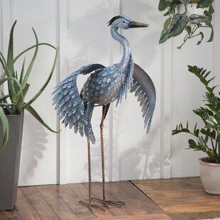 Metallic Heron Statue