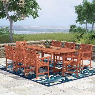 Monterry Extendable 9 Piece Wood Dining Set