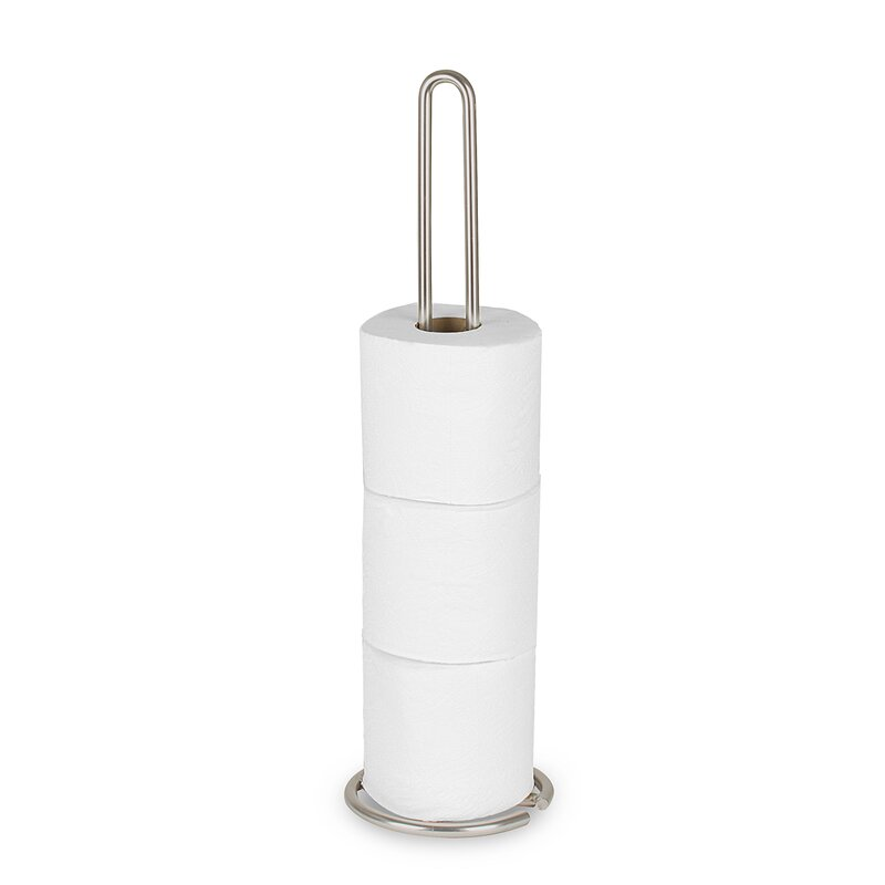 Wallpaper World White Freestanding Toilet Paper Holder