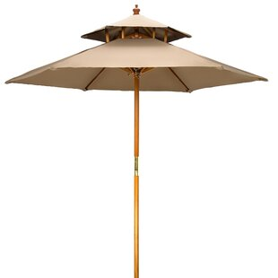 Bloomsbury Market Ardencroft Wood 2 Tier Pagoda Style Patio 7' Market Umbrella