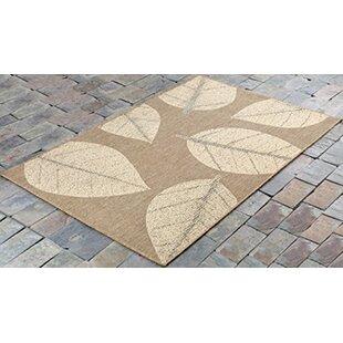 Otega Leaves Beige Indoor/Outdoor Area Rug by Millwood Pines