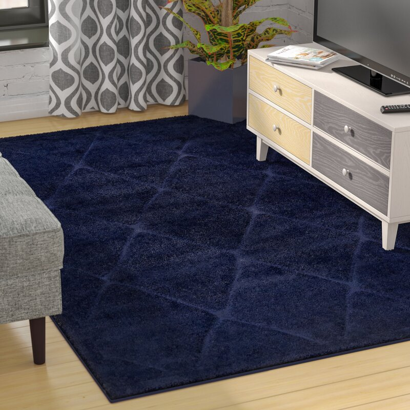 Chester Navy Blue Shag Area Rug