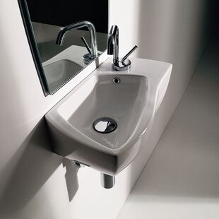 WS Bath Collections Wave Ceramic Ceramic Specialty Vessel Bathroom Sink with Overflow