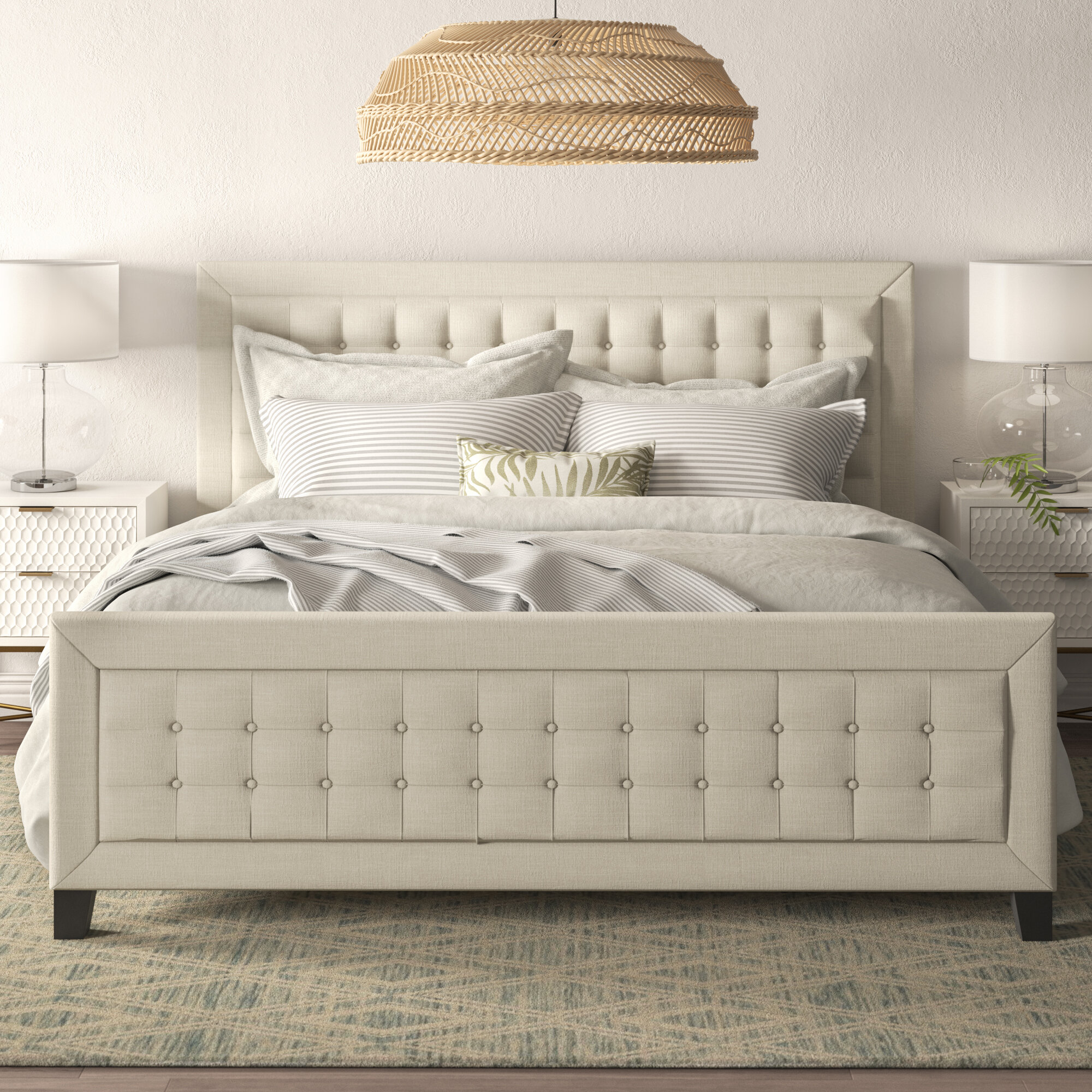 Isolde Grid Tufted Upholstered Panel Bed With Footboard Reviews Joss Main