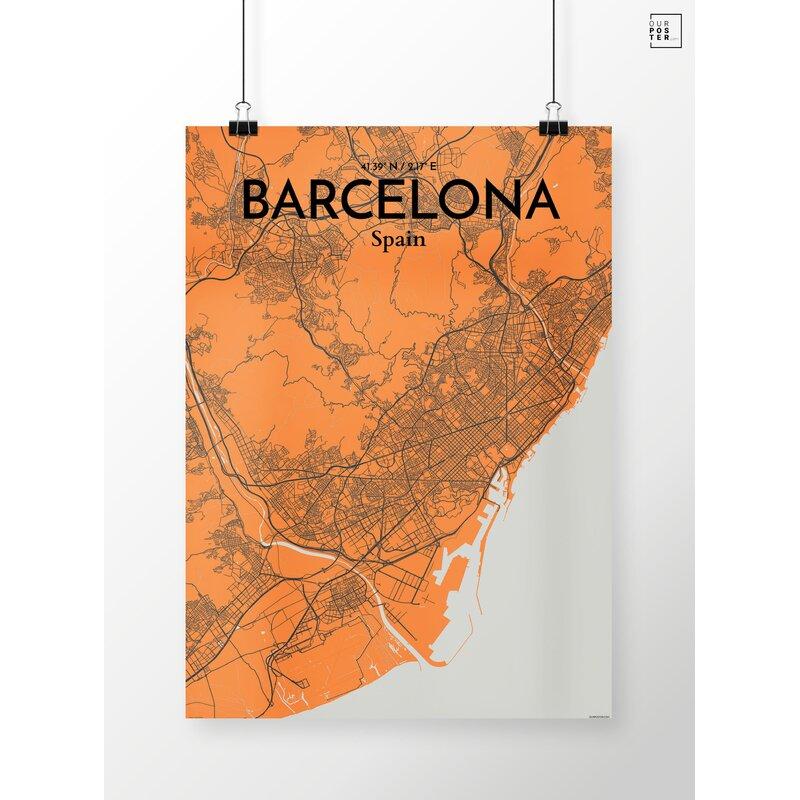 Wrought Studio Barcelona City Map Graphic Art Print Poster In Orange Wayfair