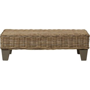 Azocar Rattan Wood Bench By World Menagerie