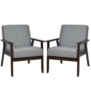 Tinisha Solid Wood Armchair Set of 2 by George Oliver