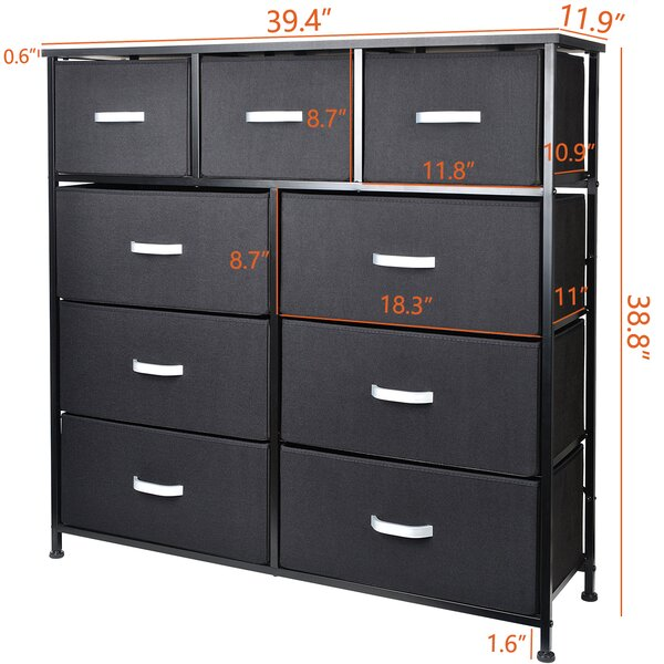 Kinwell Modern Home Kareem 9 Drawer Double Dresser Beschan