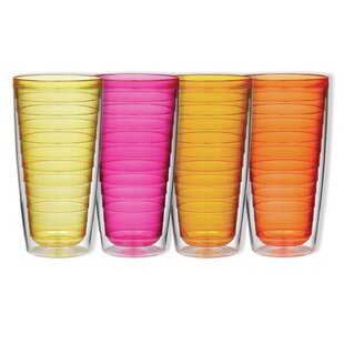 4-Piece 24 oz. Plastic Double Wall Glass Set