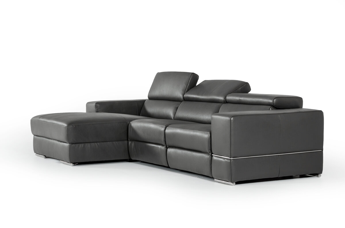 Wade Logan Galena L-Shaped Leather Reclining Sectional | Wayfair