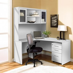 Haaken Furniture L-Shape Executive Desk with Hutch