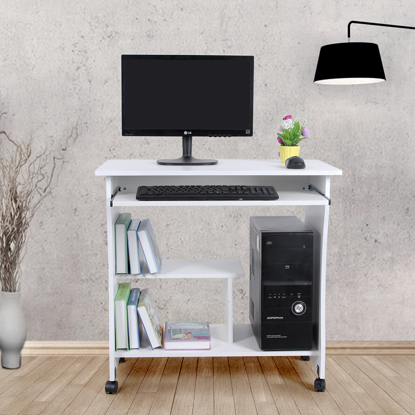 Charlton Home Terrence Movable Portable Trolley Study Workstation Computer Desk