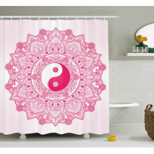 Ying Yang Decor Pink Mandala Single Shower Curtain