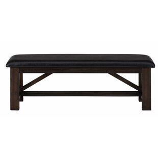 Kevin Wooden Leather Bench by Millwood Pines