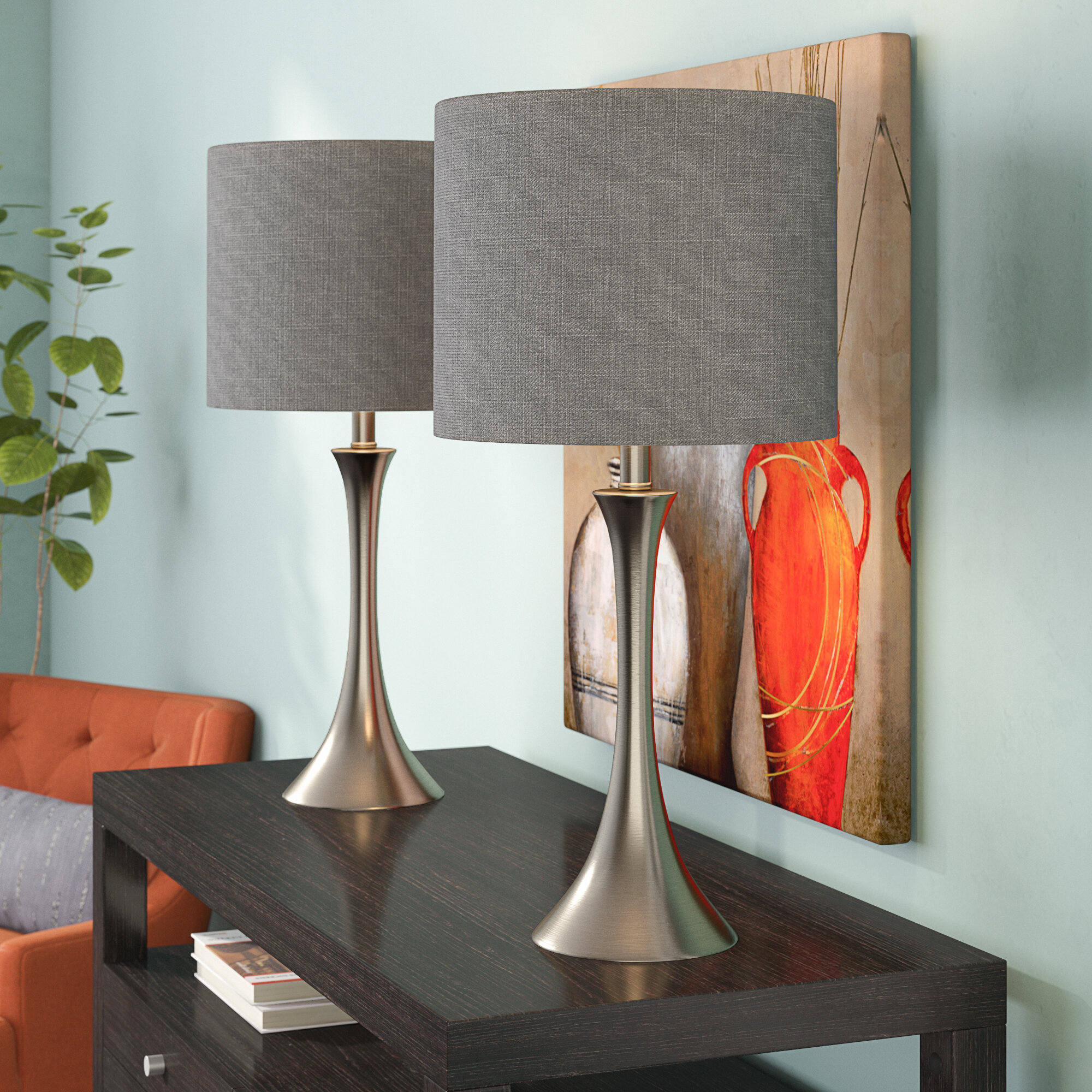 Picture of: Alcott Hill Chesterfield Brushed Nickel Table Lamp Set Reviews Wayfair